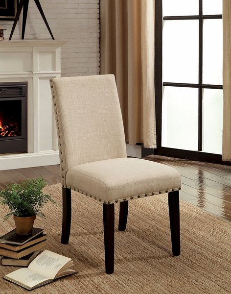 Kaitlin 2 Beige Fabric Side Chairs by Furniture of America
