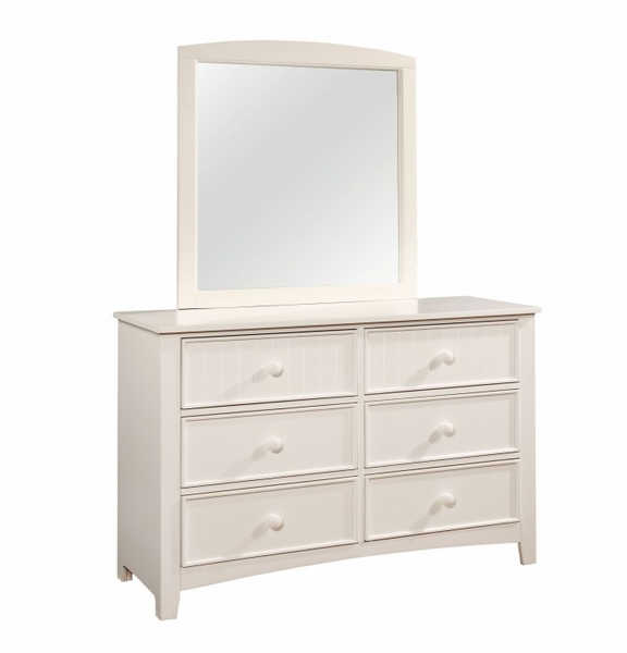 Corry White Wood Dresser with Mirror by Furniture of America