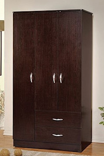 Donelle Espresso Finish Wood Wardrobe w/3 Doors by Asia Direct