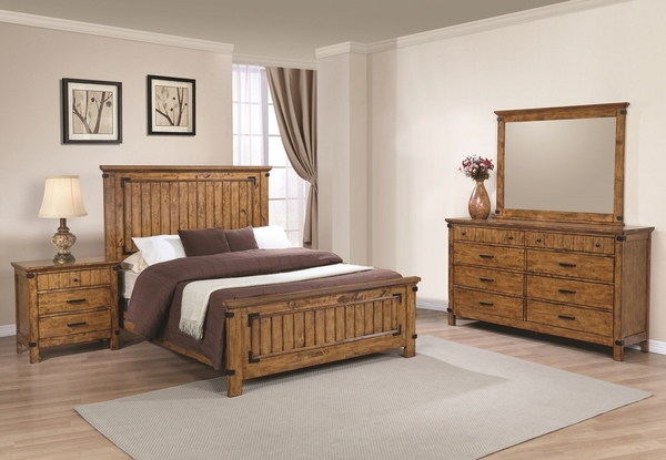 Brenner 4-Pc Rustic Honey Wood King Panel Bed Set by Coaster