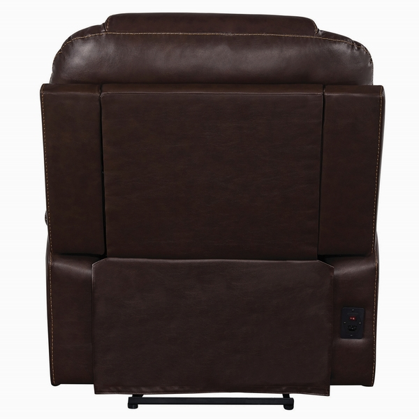 Cataleya Brown Top Grain Leather 3xPower Recliner by Coaster