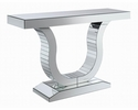 Amala Clear Mirror Console Table with U-Shaped Base by Coaster
