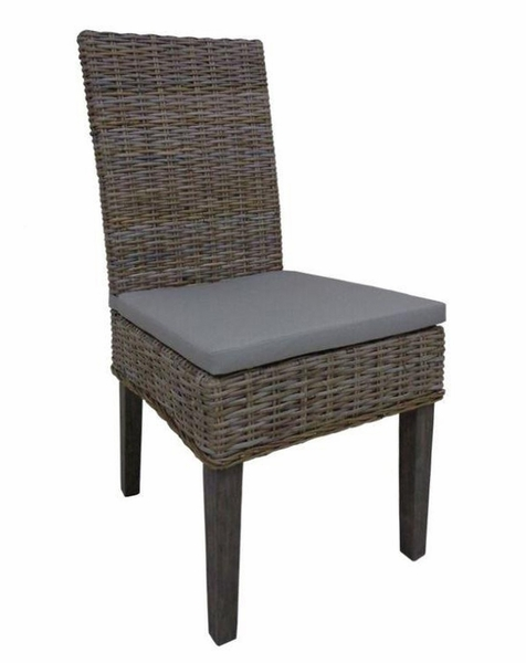 Asbury 2 Rattan Side Chairs with Khaki Fabric Seat by Coaster
