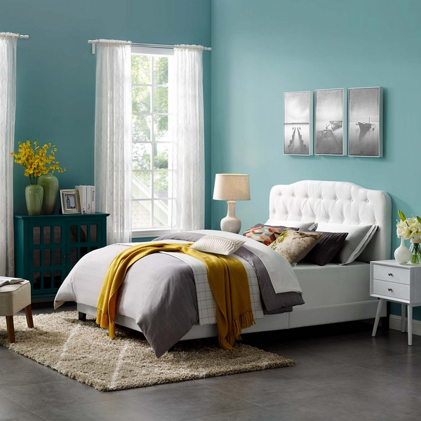 Amelia White Soft Fabric King Bed by Modway