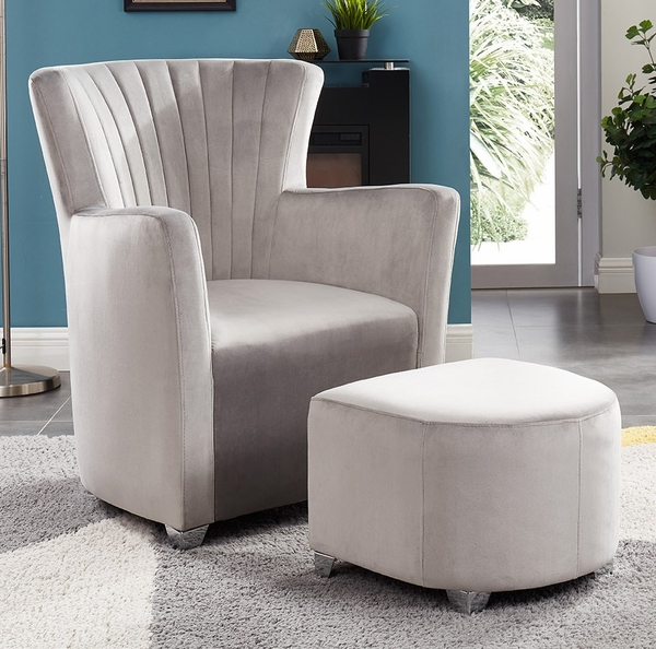 Amarante Grey Velvet Accent Chair with Ottoman by Asia Direct