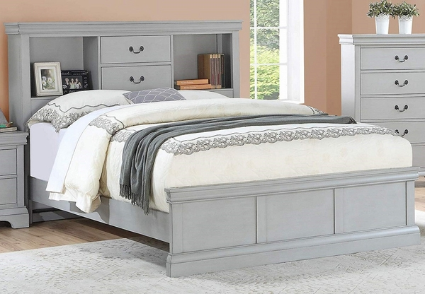 Candice Grey Wood Twin Bookcase Bed by Poundex