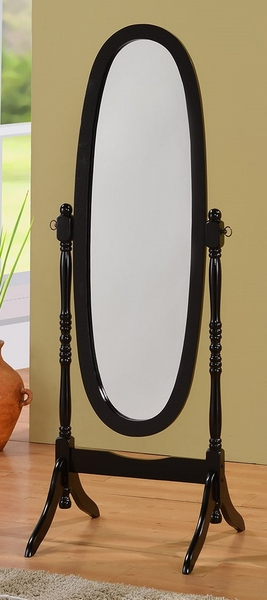 Bailee Black Wood Frame/Glass Floor Mirror by Asia Direct