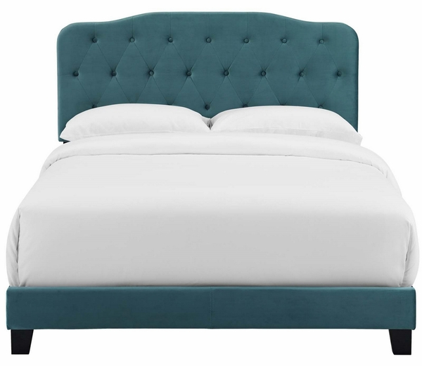 Amelia Sea Blue Velvet King Bed by Modway