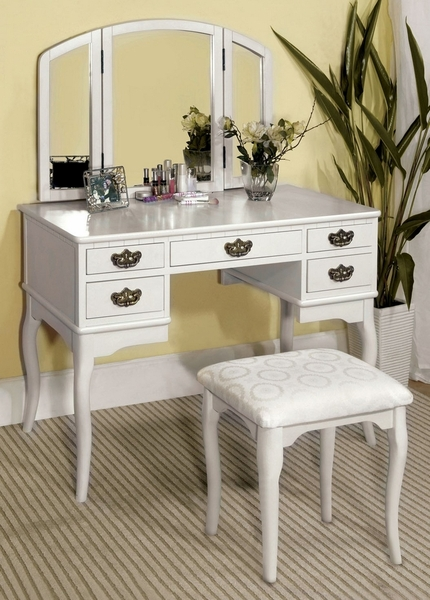 Ashland White Wood Vanity with Mirror & Stool by Furniture of America