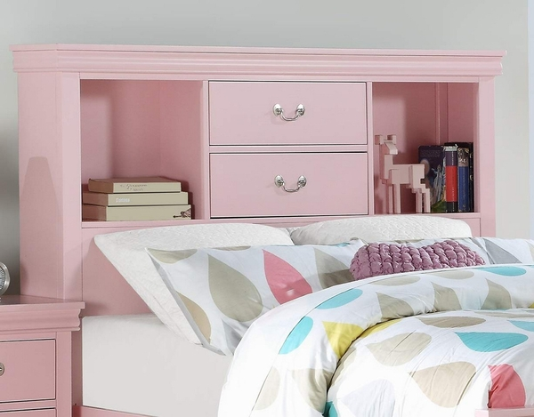 Candice Light Pink Wood Twin Bookcase Bed by Poundex