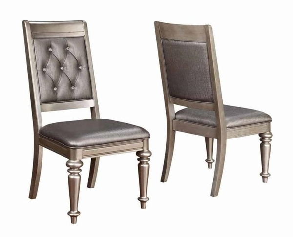 Bling Game 2 Metallic Platinum Wood/Leatherette Side Chairs by Coaster