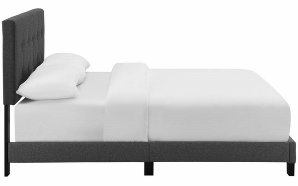 Amira Gray Upholstered Fabric Queen Bed by Modway