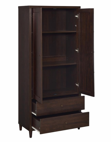 Abina Rustic Dark Brown Wood Tall Cabinet by Coaster
