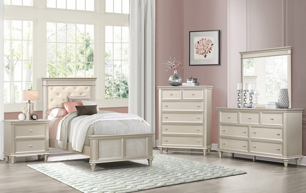Celandine Off-White Faux Leather/Silver Wood Twin Bed by Homelegance