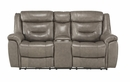 Danio Brownish Gray Power Recliner Loveseat w/Console by Homelegance
