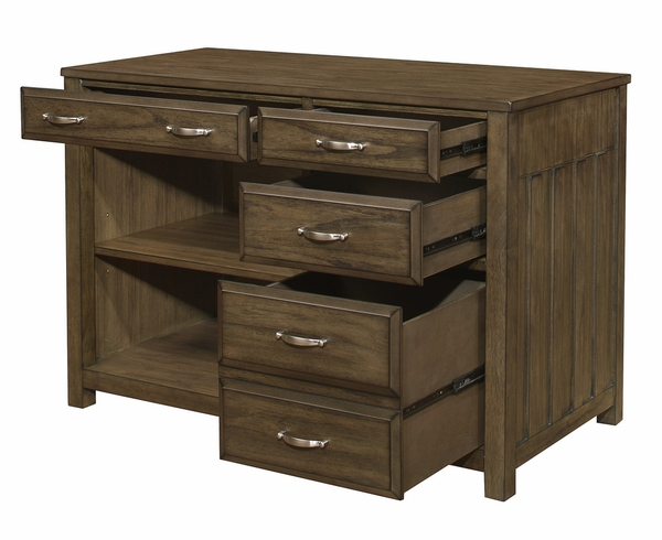Blanche Brown Gray Wood 4-Drawer Credenza with Hutch by Homelegance