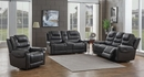 North Charcoal Leather Dual Power Recliner Loveseat by Coaster