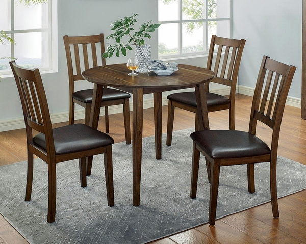 Blackwood 5-Pc Walnut/Brown Dining Table Set by Furniture of America