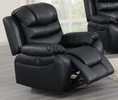 Breanne Black Breathable Leatherette Power Recliner by Poundex