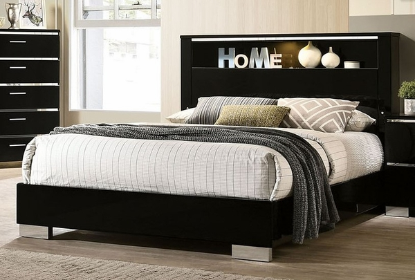 Carlie Black Wood Queen Bed (Oversized) by Furniture of America