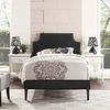 Corene Black Fine Vinyl Twin Bed with Squared Tapered Legs by Modway