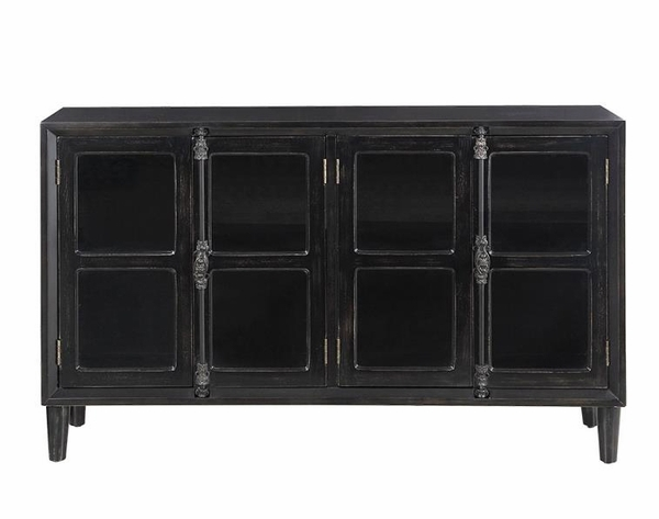 Abree Black Wood Accent Cabinet with Glass Doors by Coaster