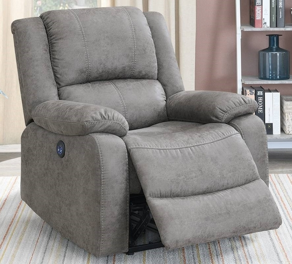 Joan Antique Grey Breathable Leatherette Power Recliner by Poundex