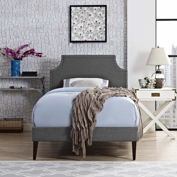 Corene Gray Fabric Twin Bed with Squared Tapered Legs by Modway