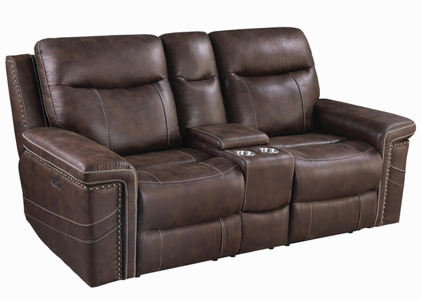Wixom Brown Faux Suede 2xPower Recliner Loveseat by Coaster