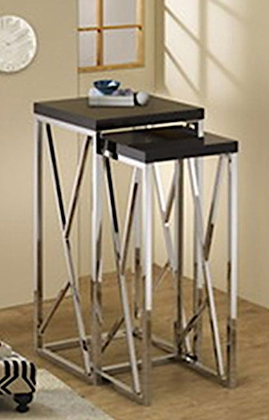 Claudette 2-Pc Black Wood/Metal Nesting Table Set by Asia Direct