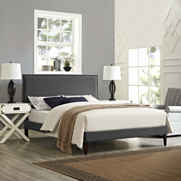 Amaris Gray Fabric Queen Bed with Squared Tapered Legs by Modway