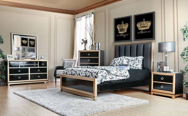 Braunfels Black/Gold Wood 2-Drawer Nightstand by Furniture of America