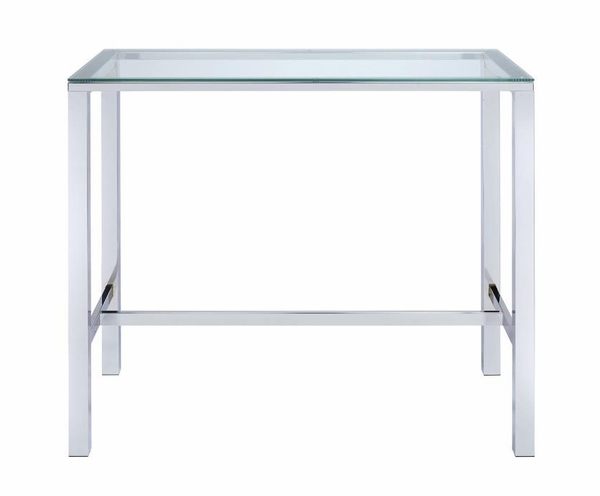 Arleth Chrome Finish Metal Bar Table w/ Clear Glass Top by Coaster