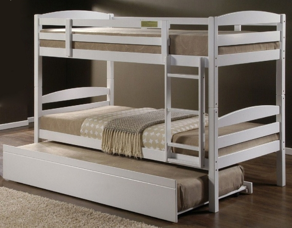Barstow White Wood Twin Bunk Bed w/Trundle by Casa Blanca Furnishings