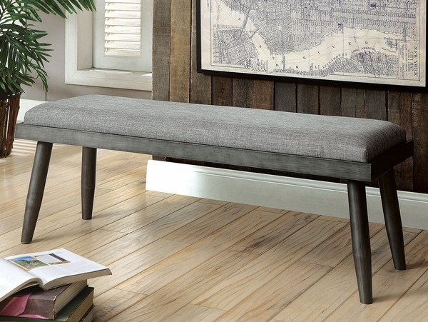 Vilhelm Gray Fabric/Metal Dining Bench by Furniture of America
