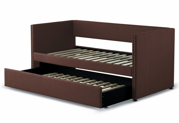 Therese Chocolate Fabric Twin Daybed with Trundle by Homelegance