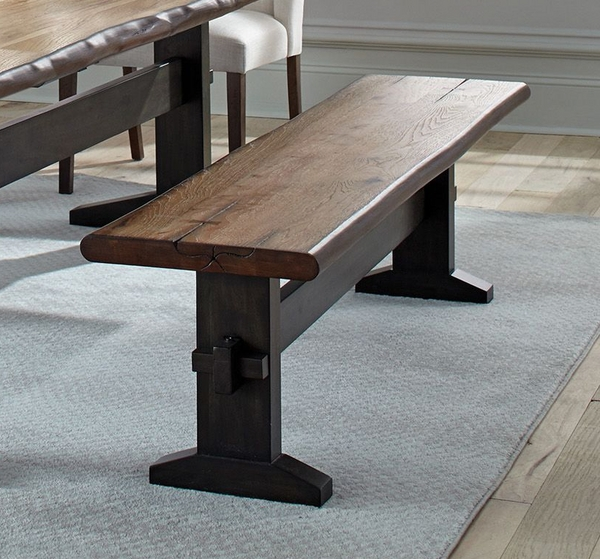 Burnham Natural Honey Wood Bench with Live Edge by Coaster