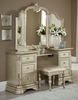 Antoinetta Bronze Faux Leather/Champagne Vanity Stool by Homelegance