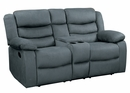 Discus Gray Manual Recliner Loveseat with Console by Homelegance