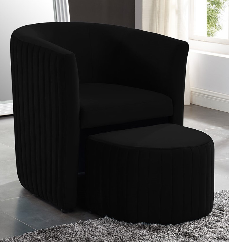 Beverley Black Velvet Accent Chair with Ottoman by Asia Direct
