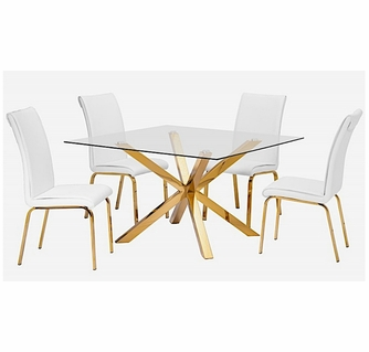 Beverley 5 Pc White Gold Dining Table, White And Gold Dining Room Set