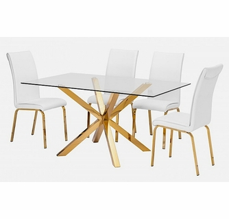 Beverley 5 Pc Gold White Dining Table, White And Gold Dining Room Set