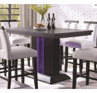 Bernice Black Wood Counter Height Table With Led Light By Acme