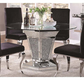 Noralie Clear Glass Mirrored Round Dining Table By Acme