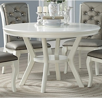 Chrissy White Wood Round Dining Table By Poundex