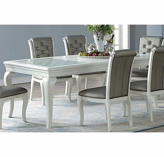 Chrissy White Wood Rectangular Extendable Dining Table By Poundex
