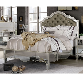 Eliora Silver Mirrored Queen Bed by Furniture of America
