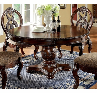 Tuscany Antique Cherry Wood Round Dining Table By Furniture Of America