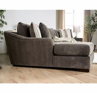 sigge 2pc charcoal chenille laf sectional sofa by furniture of america