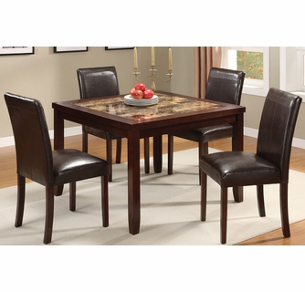 Alda 5 Pc Espresso Wood Dining Table Set W Marble Top By Asia Direct